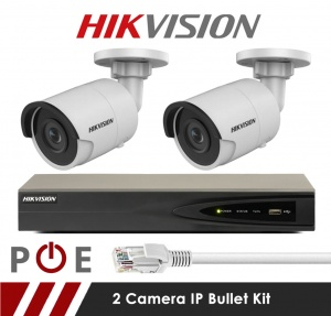 2 Camera Hikvision CCTV Kit With 5MP 2.8mm Fixed Bullet Cameras in White