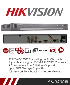 Hikvision DS-7204HTHI-K1 8MP 4 Channel TVI, DVR & NVR Tribrid CCTV Recorder with Network and Mobile phone remote viewing