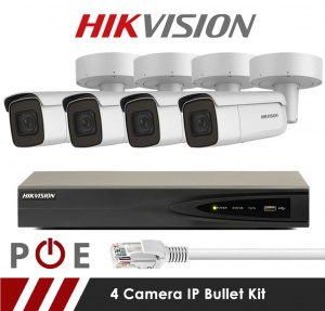 4 Camera Hikvision CCTV Kit With 5MP Motorized Lens Bullet Cameras in White