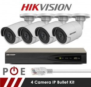 4 Camera Hikvision CCTV Kit With 5MP 2.8mm Fixed Bullet Cameras in White