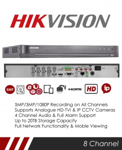 Hikvision DS-7208HUHI-K2 5MP 8 Channel TVI, DVR & NVR Tribrid CCTV Recorder with Network and Mobile phone remote viewing