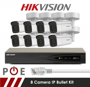 8 Camera Hikvision CCTV Kit With 5MP Motorized Lens Bullet Cameras in White