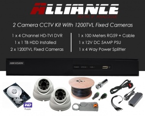 2 Camera Alliance CCTV Kit With 1080p TVI Anti Vandal Fixed Dome Cameras in White