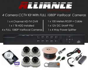 4 Camera Alliance CCTV Kit With 1080p TVI Anti Vandal 2.8-12 Varifocal Dome Cameras in White
