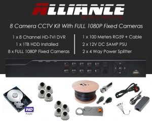 8 Camera Alliance CCTV Kit With 1080p TVI Anti Vandal Fixed Dome Cameras in White