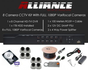 8 Camera Alliance CCTV Kit With 1080p TVI Anti Vandal 2.8-12 Varifocal Dome Cameras in White