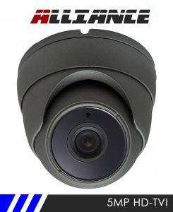 Alliance 5MP HD-TVI 1944p Dome CCTV Camera 20m IR 3.6mm Fixed Lens - Grey