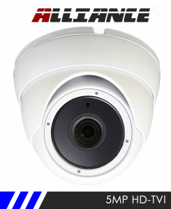 Alliance 5MP HD-TVI 1944p Dome CCTV Camera 20m IR 3.6mm Fixed Lens - White