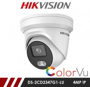 Hikvision ColorVu DS-2CD2347G1-LU 4MP Network IP CCTV Dome Camera 2.8mm Fixed Lens Visible Light