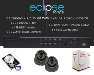 2 Camera IP Eclipse CCTV Kit With 1080p IP Anti Vandal Fixed Dome Cameras in Graphite