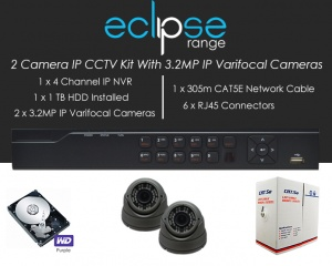 2 Camera IP Eclipse CCTV Kit With 1080p IP Anti Vandal 2.8-12mm Varifocal Dome Cameras in Graphite