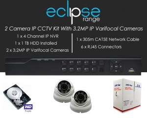 2 Camera IP Eclipse CCTV Kit With 1080p IP Anti Vandal 2.8-12mm Varifocal Dome Cameras in White