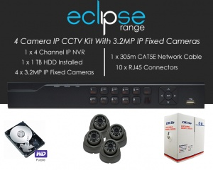 4 Camera IP Eclipse CCTV Kit With 1080p IP Anti Vandal Fixed Dome Cameras in Graphite