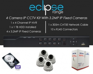 4 Camera IP Eclipse CCTV Kit With 1080p IP Anti Vandal Fixed Dome Cameras in White