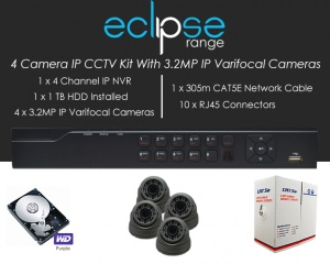 4 Camera IP Eclipse CCTV Kit With 1080p IP Anti Vandal 2.8-12mm Varifocal Dome Cameras in Graphite