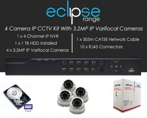 4 Camera IP Eclipse CCTV Kit With 1080p IP Anti Vandal 2.8-12mm Varifocal Dome Cameras in White