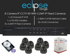 8 Camera IP Eclipse CCTV Kit With 1080p IP Anti Vandal Fixed Dome Cameras in Graphite
