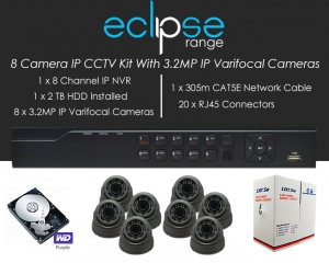 8 Camera IP Eclipse CCTV Kit With 1080p IP Anti Vandal 2.8-12mm Varifocal Dome Cameras in Graphite