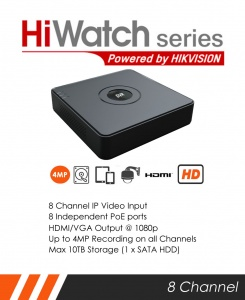HiWatch NVR-108-A/8P 8 channel 4MP Mini NVR by Hikvision - 8 x POE