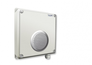 External loudspeaker unit with message playback on alarm