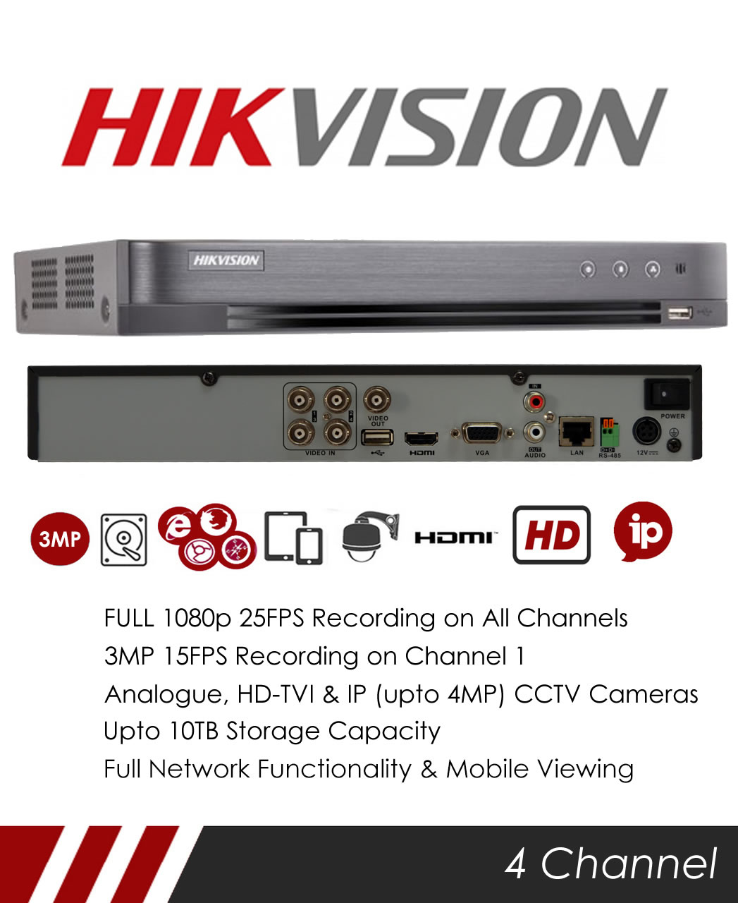 MIE CCTV: Hikvision DS-7204HQHI-K1 4 Channel Turbo HD 4 0, DVR & NVR