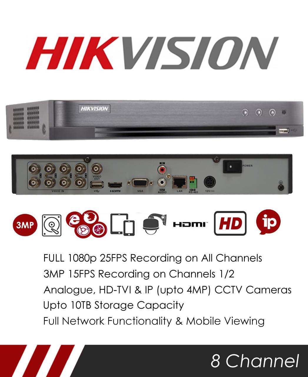 MIE CCTV: Hikvision DS-7208HQHI-K1 8 Channel TVI, DVR & NVR