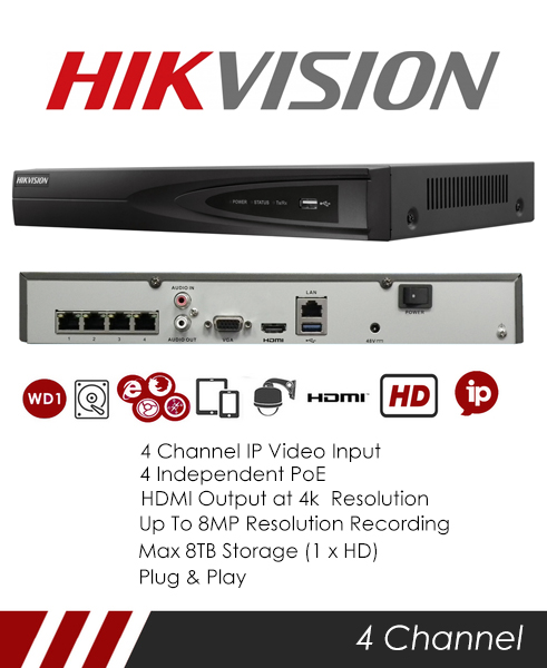 MIE CCTV: Hikvision DS-7604NI-K1-4P 4CH NVR CCTV Recorder