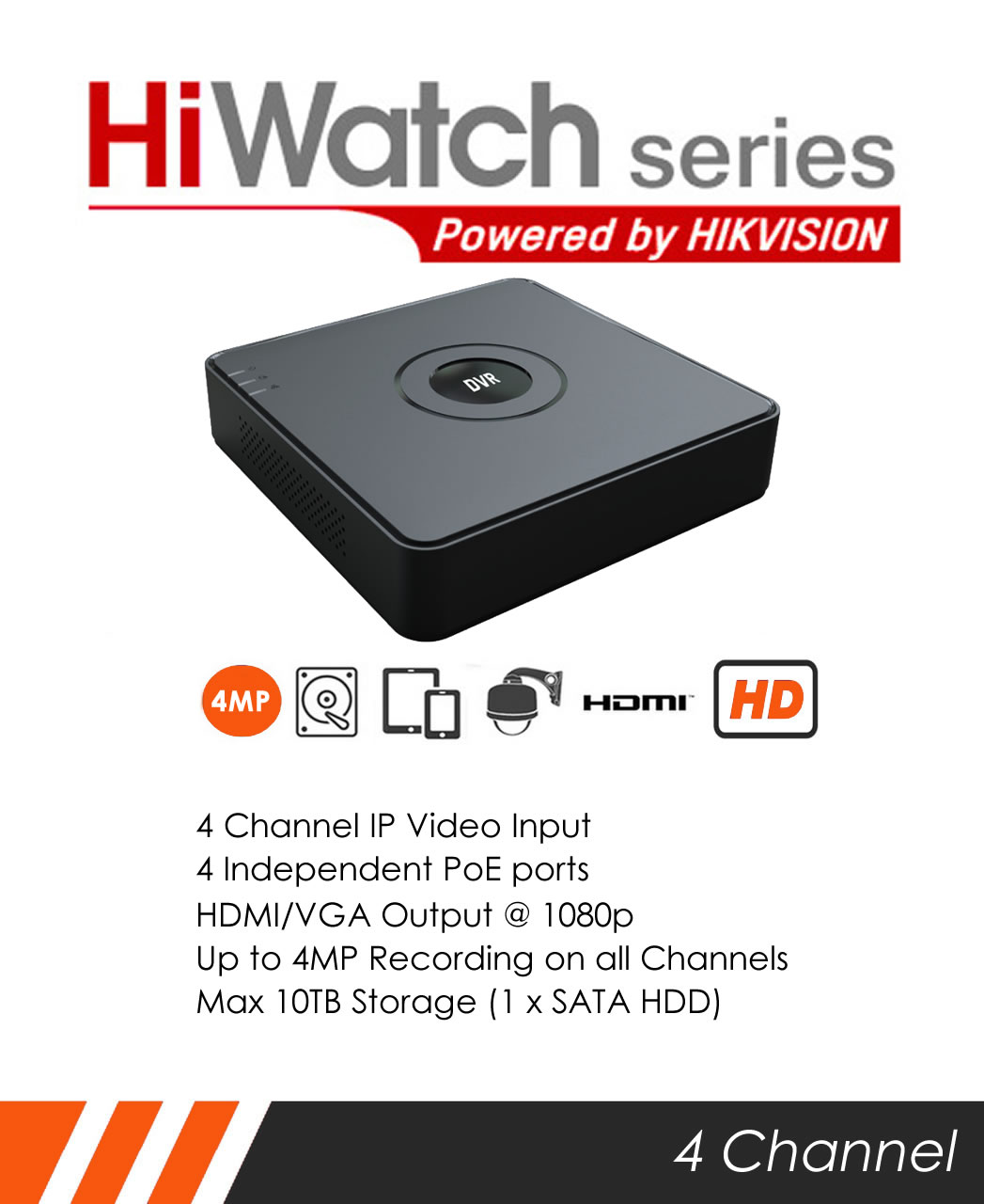 MIE CCTV: HiWatch NVR-104-A/4P 4 channel 4MP Mini NVR by