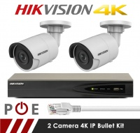 2 Camera Hikvision CCTV Kit With 8MP 4K 2.8mm Fixed Bullet Cameras in White