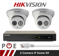 2 Camera Hikvision CCTV Kit With 5MP Anti Vandal 2.8mm Fixed Dome Cameras in White