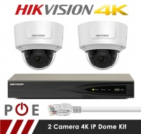 2 Camera Hikvision CCTV Kit With 8MP 4K Anti Vandal Motorized Lens Dome Cameras in White