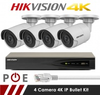4 Camera Hikvision CCTV Kit With 8MP 4K 2.8mm Fixed Bullet Cameras in White