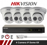 4 Camera Hikvision CCTV Kit With 5MP Anti Vandal 2.8mm Fixed Dome Cameras in White