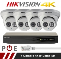 4 Camera Hikvision CCTV Kit With 8MP 4K Anti Vandal 2.8mm Fixed Dome Cameras in White