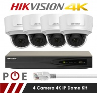 4 Camera Hikvision CCTV Kit With 8MP 4K Anti Vandal Motorized Lens Dome Cameras in White