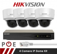 4 Camera Hikvision CCTV Kit With 5MP Anti Vandal Motorized Lens Dome Cameras in White
