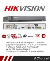 Hikvision DS-7208HUHI-K1 5MP 8 Channel TVI, DVR & NVR Tribrid CCTV Recorder with Network and Mobile phone remote viewing