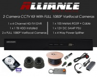 2 Camera Alliance CCTV Kit With 1080p TVI Anti Vandal 2.8-12 Varifocal Dome Cameras in Graphite
