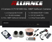 2 Camera Alliance CCTV Kit With 1080p TVI Anti Vandal 2.8-12 Varifocal Dome Cameras in White