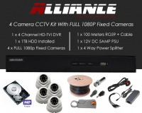 4 Camera Alliance CCTV Kit With 1080p TVI Anti Vandal Fixed Dome Cameras in White