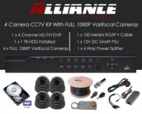4 Camera Alliance CCTV Kit With 1080p TVI Anti Vandal 2.8-12 Varifocal Dome Cameras in Graphite