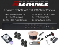 8 Camera Alliance CCTV Kit With 1080p TVI Anti Vandal Fixed Dome Cameras in Graphite