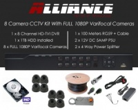 8 Camera Alliance CCTV Kit With 1080p TVI Anti Vandal 2.8-12 Varifocal Dome Cameras in Graphite