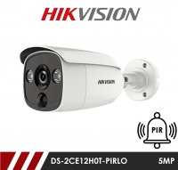 Hikvision 5MP Fixed Lens Bullet DS-2CE11H0T-PIRLO 3.6MM HD-TVI CCTV Camera with PIR and Visual Light Alarm- White