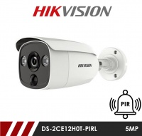 Hikvision 5MP Fixed Lens Bullet DS-2CE12H0T-PIRL 3.6MM HD-TVI CCTV Camera with PIR and Visual Light Alarm- White