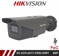 Hikvision 5MP DS-2CE16H1T-IT3ZE/GREY  2.8-12mm Motorised Lens HD-TVI Bullet CCTV Camera with POC - Grey