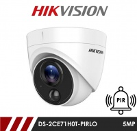 Hikvision 5MP Fixed Lens Dome DS-2CE71H0T-PIRLO 2.8MM HD-TVI CCTV Camera with PIR and Visual Light Alarm- White