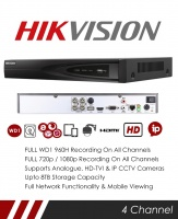 Hikvision DS-7204HQHI-F1/N 4 Channel TVI, DVR & NVR Tribrid CCTV Recorder with Network and Mobile phone remote viewing