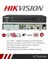 Hikvision DS-7204HUHI-F1/N 3MP 4 Channel TVI, DVR & NVR Tribrid CCTV Recorder with Network and Mobile phone remote viewing