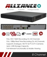 Alliance Plus 8 Channel TVI, DVR & NVR Tribrid CCTV Recorder with Network and Mobile phone remote viewing